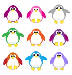 colored penguins vector image vector image