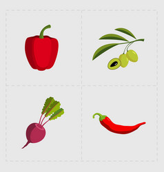 colorful vegetable icon set on white background vector image