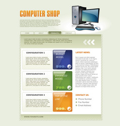 computer shop web page template detailed vector image