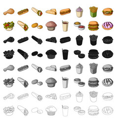 fast food set icons in cartoon style big vector image
