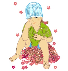 Girl on the flowers vector image