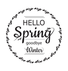 Hello Spring goodbye winter card design with vector image vector image