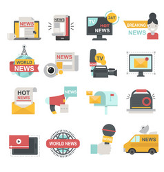 mass media icons set with telecommunications radio vector image
