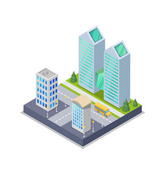 modern town district isometric 3d icon vector image vector image