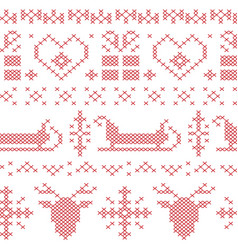Nordic seamless stitched christmas pattern vector
