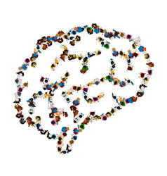 People sing brain icon isolated on white vector