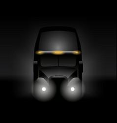 semi truck front view dark silhouette vector image vector image