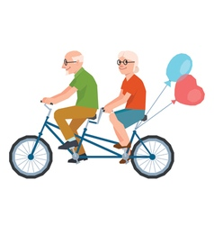 Senior loving couple on bike in low poly style vector