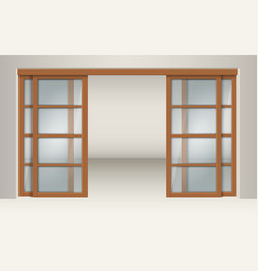 sliding glass doors with wooden lintels vector image vector image
