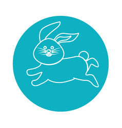 Sticker happy rabbit running cartoon vector