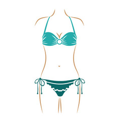 Thin contour of woman in bikini with decorative vector