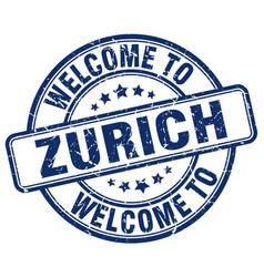 Welcome to zurich blue round vintage stamp vector