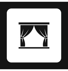 Stage curtains icon simple style vector