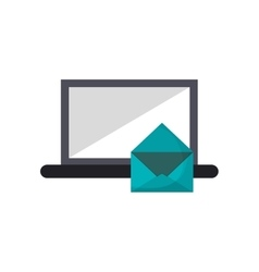 Computer and message envelope icon vector