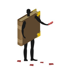 Book costume man mascot promoter male in suit vector