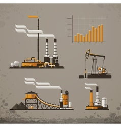 Industrial building factory and power plants icon vector
