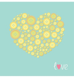 Yellow heart made from buttons love card flat desi vector