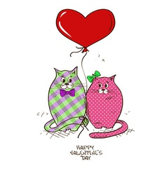 Valentines greeting card with pair of cats vector image