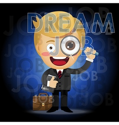 Businessman with magnifying glass search for job vector