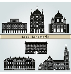 Lodz landmarks and monuments vector