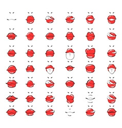 Set isolated fashion sketch lips Women made up red vector image