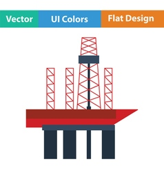 Oil sea platform icon vector