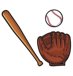 baseball glove ball and bat vector image vector image