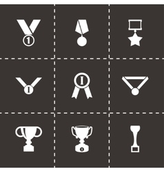 black trophy and awards icon set vector image vector image