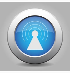Blue metal button with transmitter vector