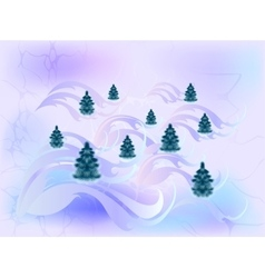 Card with Christmas trees in cool shades EPS10 vector image vector image