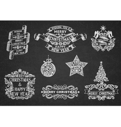 Christmas greeting labels vector