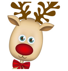 Color background of christmas reindeer face vector