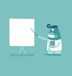 Dentist and whiteboard teeth and tooth concept of vector