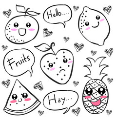 Doodle of fruit black white vector