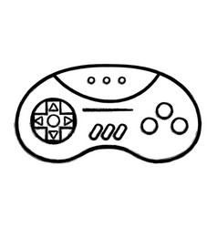 Figure videogame controller with buttons to play vector