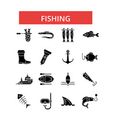 fishing thin line icons linear flat vector image vector image
