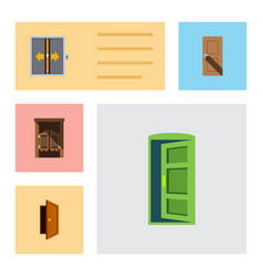 Flat icon door set of saloon lobby entry and vector