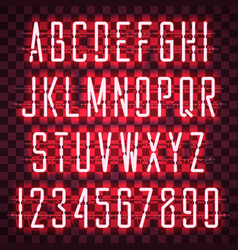 Glowing red neon casual script font vector