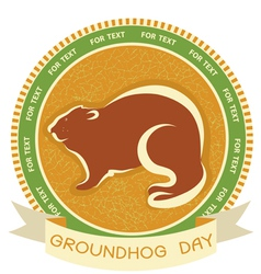 groundhog day label vector image