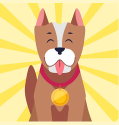 happy dog with medal cartoon flat vector image vector image