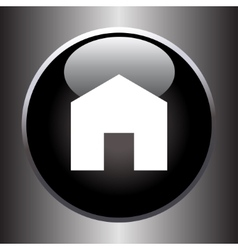 House icon on black button vector image vector image