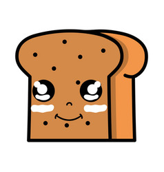 kawaii cute happy slice bread food vector image