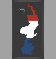 limburg netherlands map with dutch national flag vector image vector image