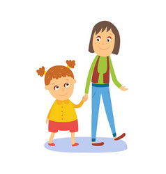 mother and daughter girl walking with her mom vector image vector image