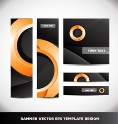 Orange circle black banner template design set vector image