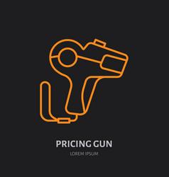 pricing gun flat line icon shop equipment vector image vector image