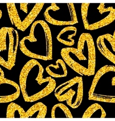 Seamless pattern gold glitter hearts vector image