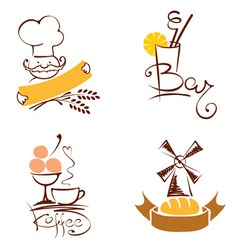 Set - cafes and bakeries vector image vector image