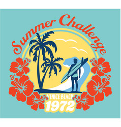 Summer surfing challenge california vector
