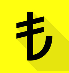 Turkiey lira sign black icon with flat style vector